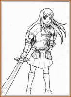 *Erza Scarlet Full Body Line Art(Revised Version)* by AniMusision