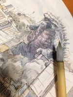 Godzilla watercolor by NORIMATSUKeiichi