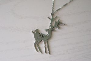 Silver Stag Necklace by MonsterBrandCrafts