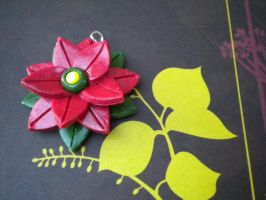 Red Poinsettia Necklace by Noviel