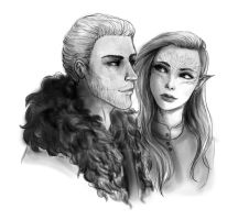 Inquisitor Lavellan and Commander Cullen by CelestrianStars