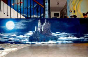 Work in progress: castle on the clouds :) by WormholePaintings