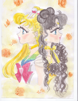 Super Sailormoon and Luna by MarieZombie