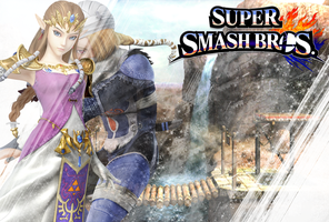 SSB-WiiU-3DS-Custom-Zelda-Sheik-Wallpaper by LivingDeadSuperstar