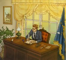 JFK at his desk by DianaKennedy