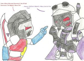 Starscream meets Blitzwing by Shadowismrevilgecko