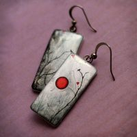 Autumn birds earrings - red by BeautySpotCrafts