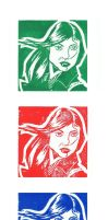 Lucky Girl print triptych by willford81