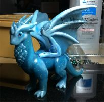 Blue Translucent Dragon, Custom Order by MiniMythicalMonsters