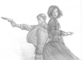 Booker and Elizabeth (Bioshock Infinite) by DrinkCactusJuice