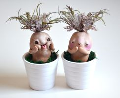 White Thistles - Miniature Plant Figurines by falauke