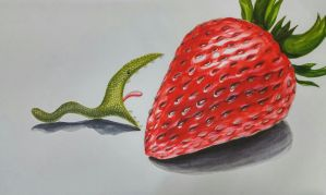 Snake eats a strawberry by Brwng