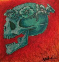 Jade skull and flowers by lancgodwin