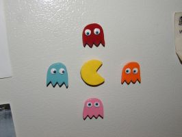 Pac Man Magnets by LeiliaClay