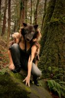Black Wolf Skin Headdress by NaturePunk