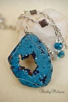 Metallic Blue Druzy Geode Slice Necklace by ShelbyMelissa