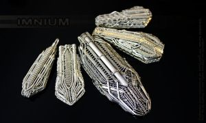 Five spaceship pendants by IMNIUM