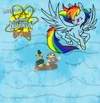 Rainbow Dash's flight above the river by Ay6