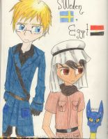 Sweden and Egypt by Potato-Kitten