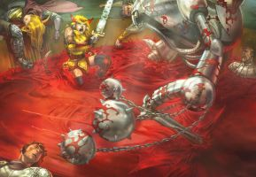 Blood Golem Battle by ChristopherStevens