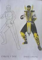 Mortal Kombat Scorpion esqueleto y base by KungLokis1
