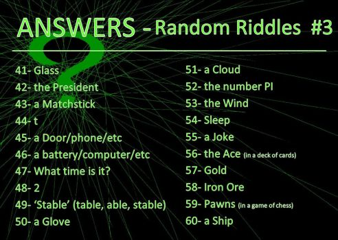 Random Riddle - ANSWERS #3 by AtraVerum