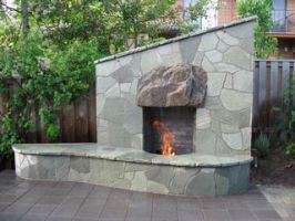 Sage Green Stone, Outdoor Fireplace. by boxcamera