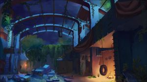 Postapocalyptic Kid's Base - Nighttime by Lyraina