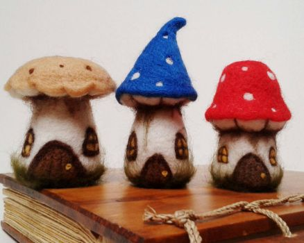 Needle Felted Fairy Houses by HeartfeltCreations