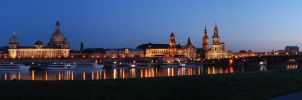 Panorama - Dresden at Twilight by skymax2k