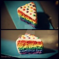 Miniature rainbow cake by Panna-Kot