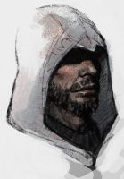 Ezio in white hood by ameij