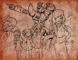 Gundam Build Fighter 02 pencils by sykoeent