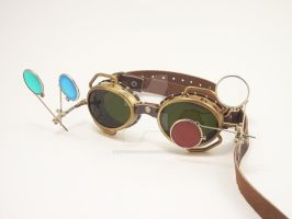 Steampunk goggles with tinted lenses by BrazenDevice