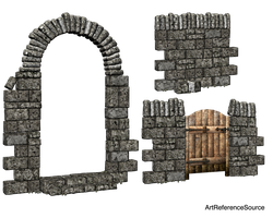 Stock:  Stone wall and arch PNG by ArtReferenceSource