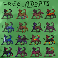 Free Strange Cat Adopts - CLOSED by Nahemii-chan