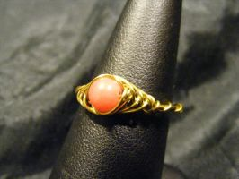 herringbone ring rhodonite and brass by BacktoEarthCreations