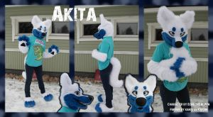 Commission partial fursuit Akita by Kaiguu