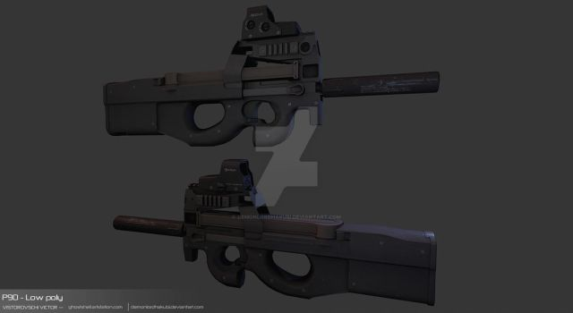 P90 - Low Poly by DemonLordHakubi