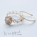 Topaz Gold Crochet Ring with Band by WrappedbyDesign