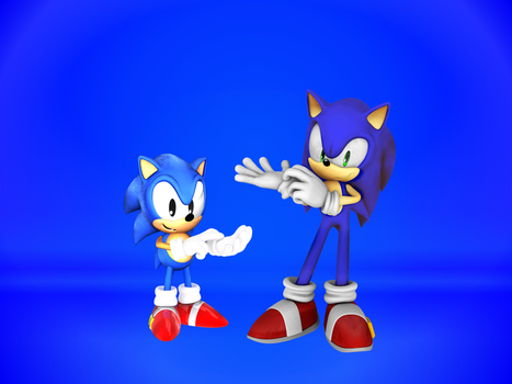 Classic Sonic and Modern Sonic by 9029561