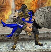 Scorpion with Kitana Request by ShaoKahnsSlaveLilith