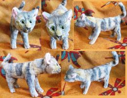 Realistic Dilute Calico Cat Soft Sculpture by Jarahamee