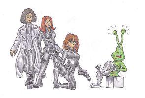 Hot sexy heroine babes ... and a little alien by alexine-pankhurst