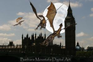 Dragons over London. by rustymermaid
