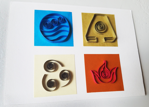 Quilled 'Avatar: The Last Airbender' Four Elements by DressToQuill