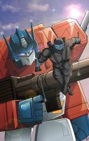 NYCC print Optimus and Snake eyes by BDixonarts