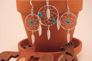 Turquoise Native American Dreamcatcher Jewelry Set by LonelyCoyoteCreation