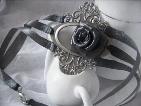 Black Rose Choker Necklace by WattCouture