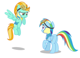 Lightning Dust and Rainbow Dash by SteampunkSalutation
